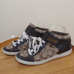 Coach High Top Brown Sneakers with Ankle Strap.
